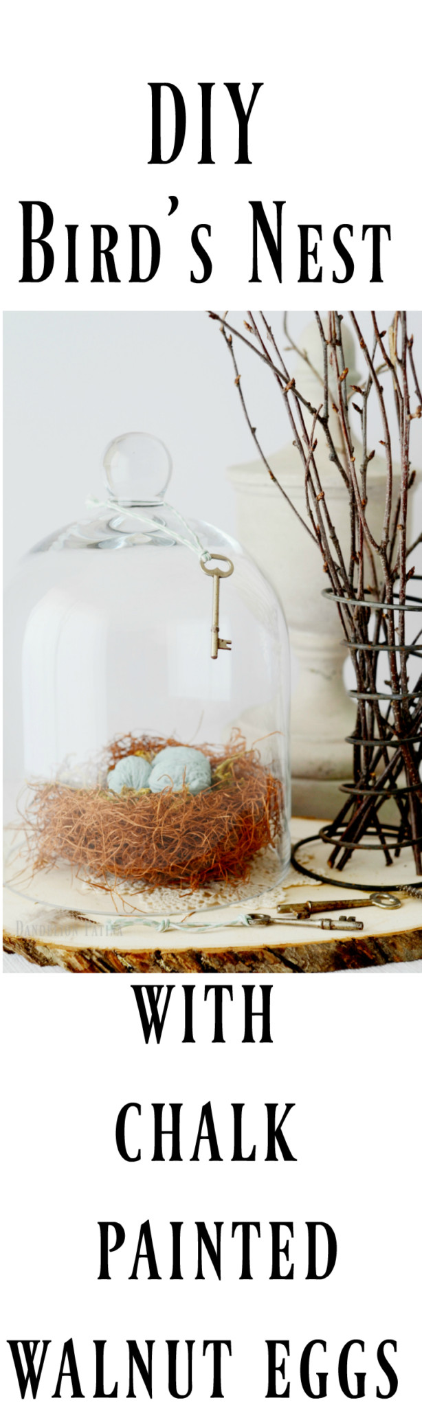 bird nest woven with charm. DIY Annie Sloan chalk painted eggs
