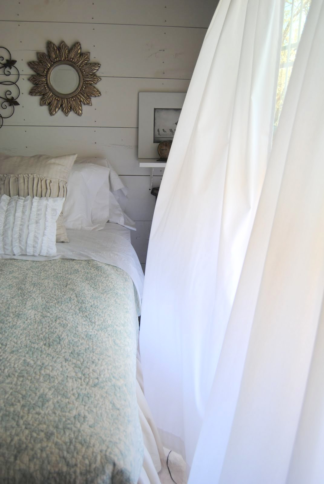 Billowy White Sheer Curtains
