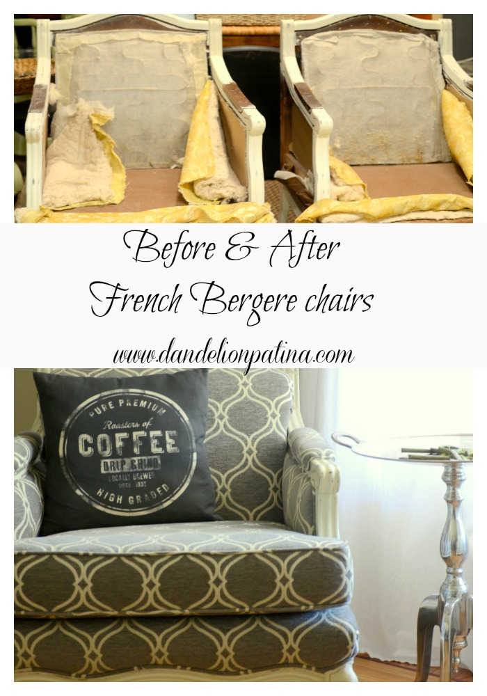 before and after french bergere chair dandelion patina