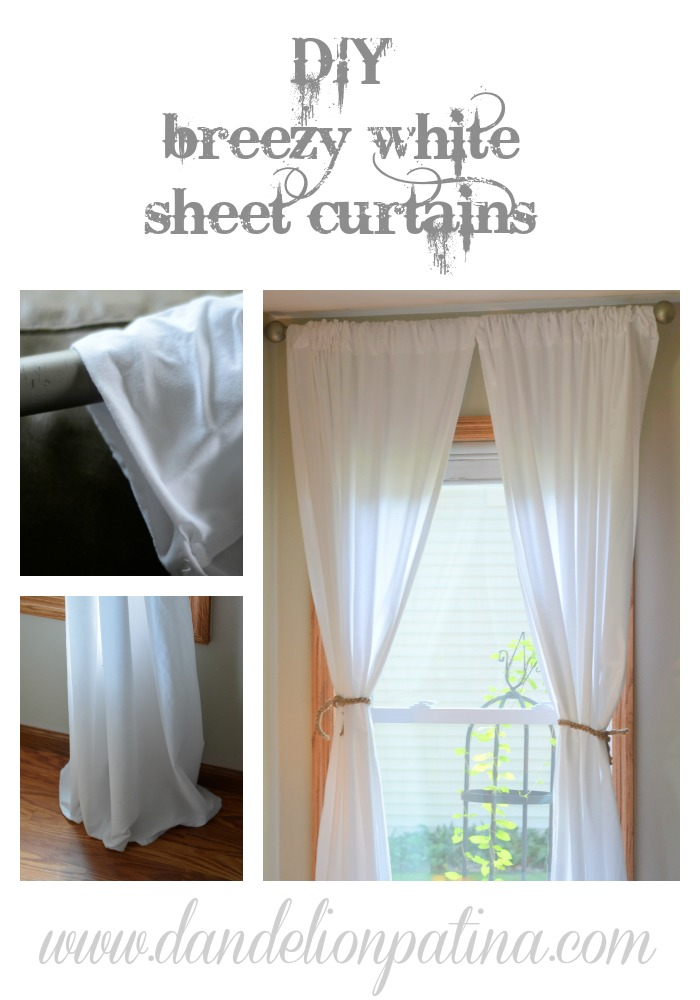 diy white sheet curtains by dandelion patina