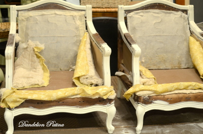 French bergere chair by dandelion patina