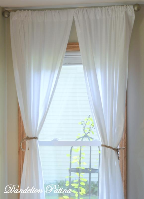 Simple Braided Jute Curtain Tiebacks - Dandelion Patina