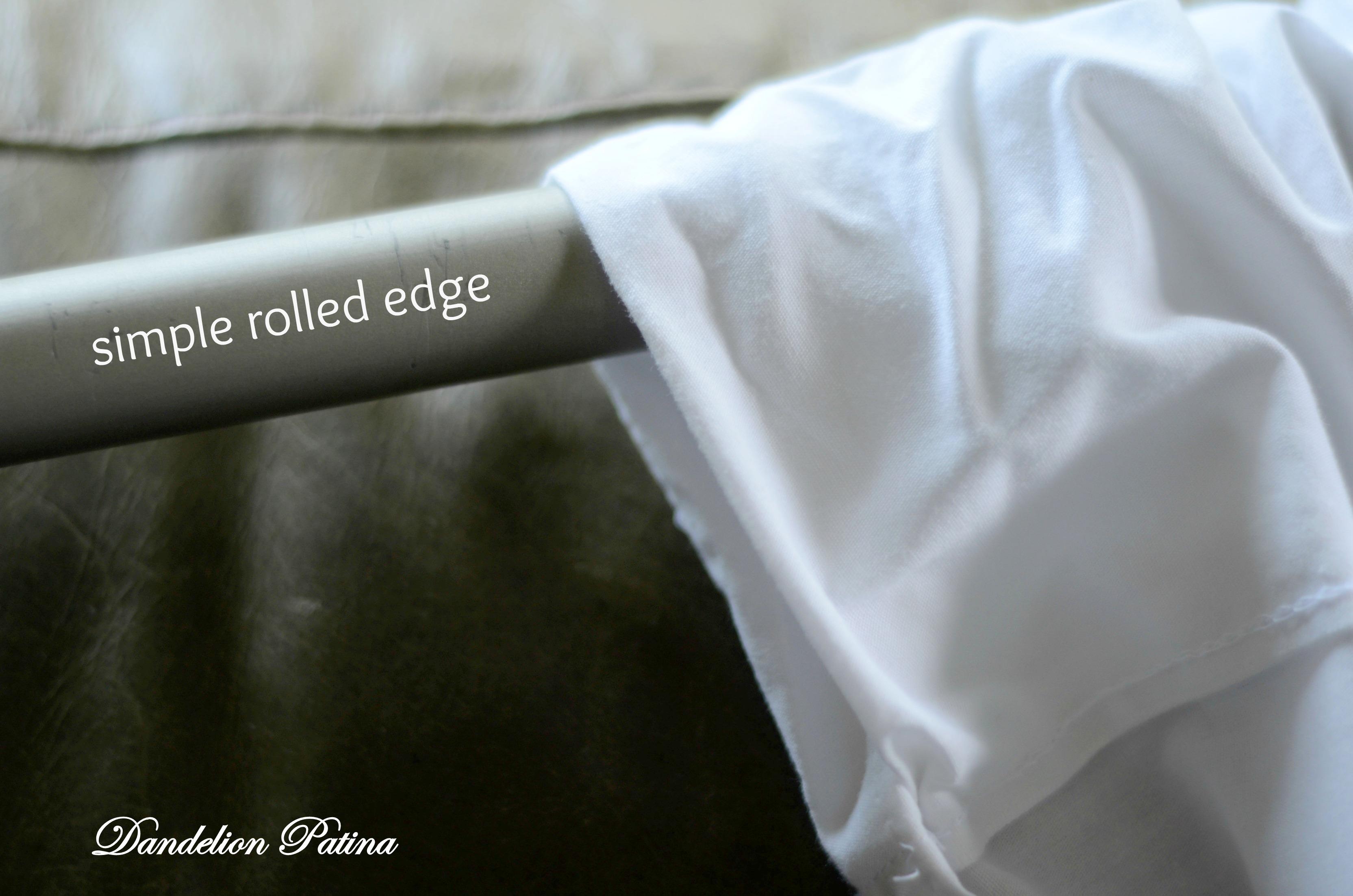 dandelion patina diy white sheet curtains