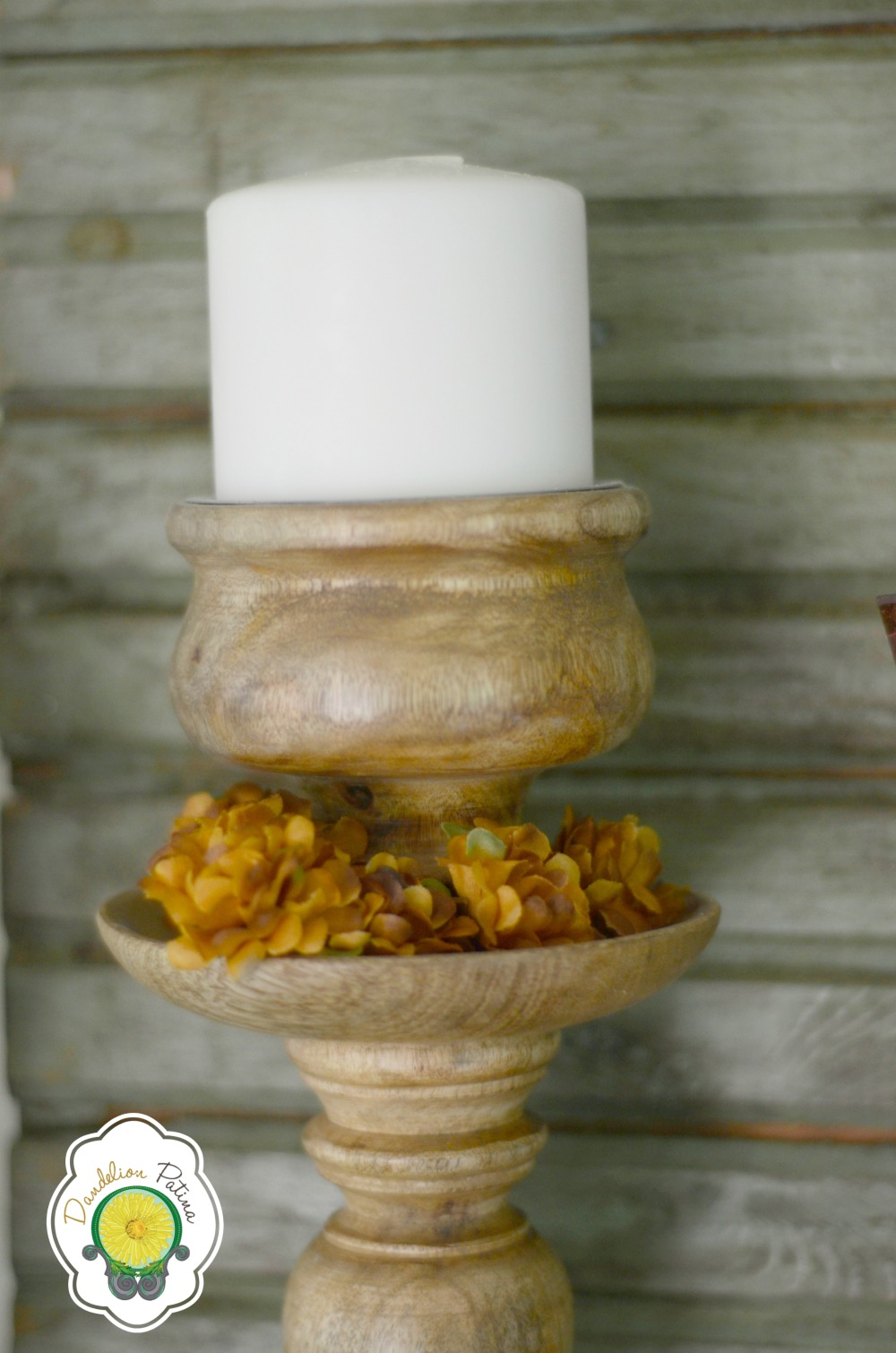 chunky wood candle holder for fall