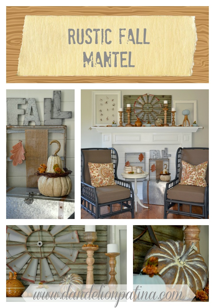 rustic fall mantel by dandelion patina