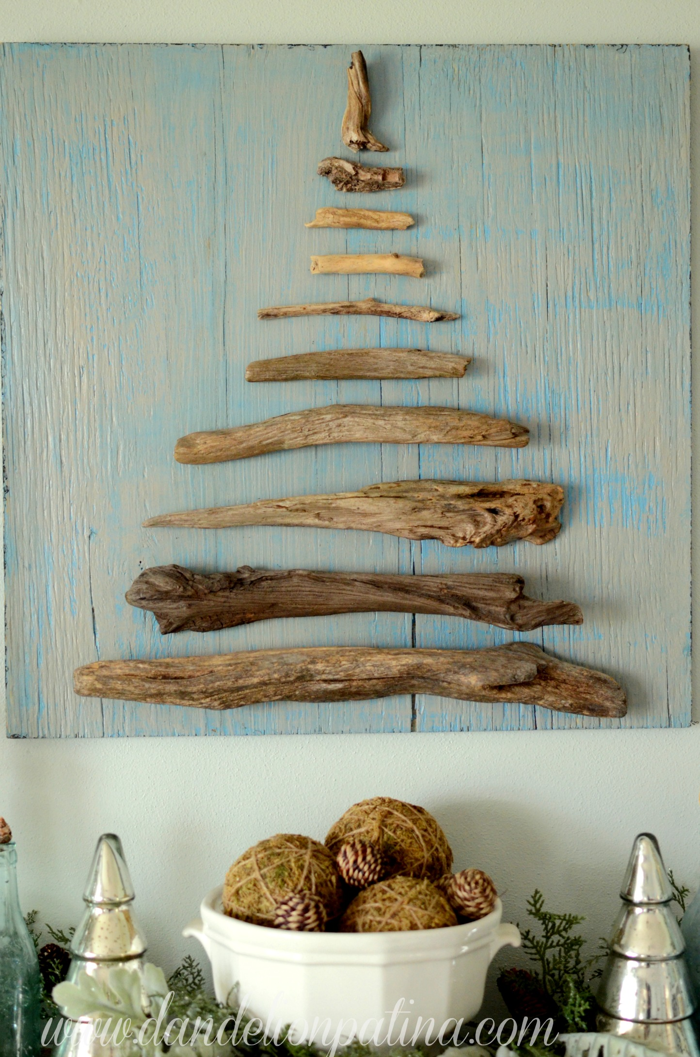coastal inspired christmas mantel
