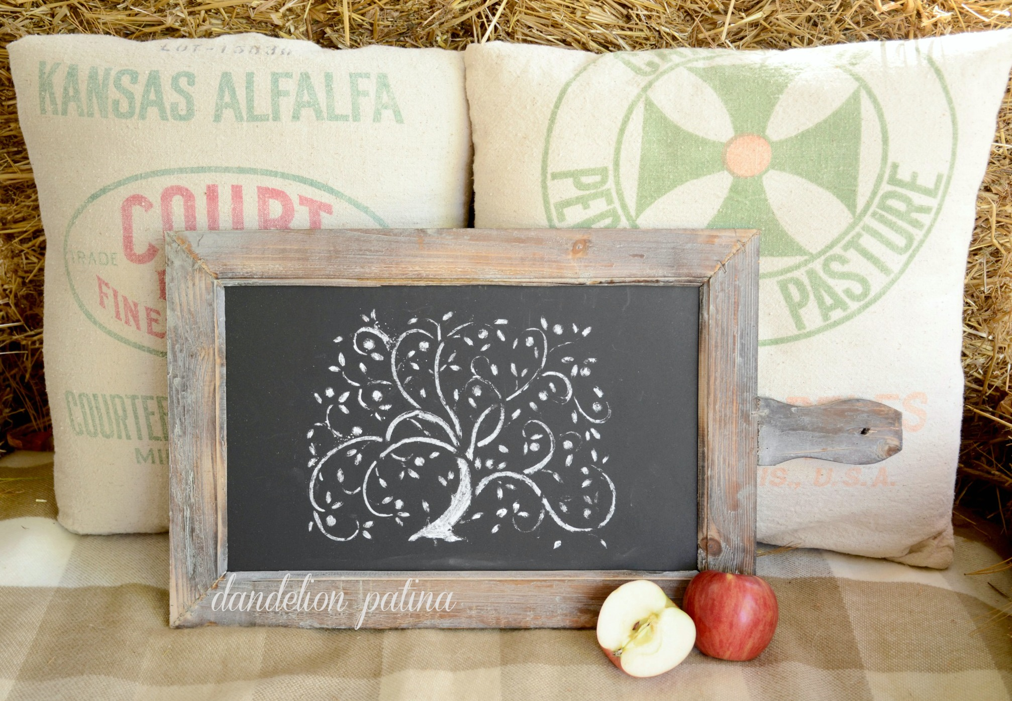 chalk board apple tree
