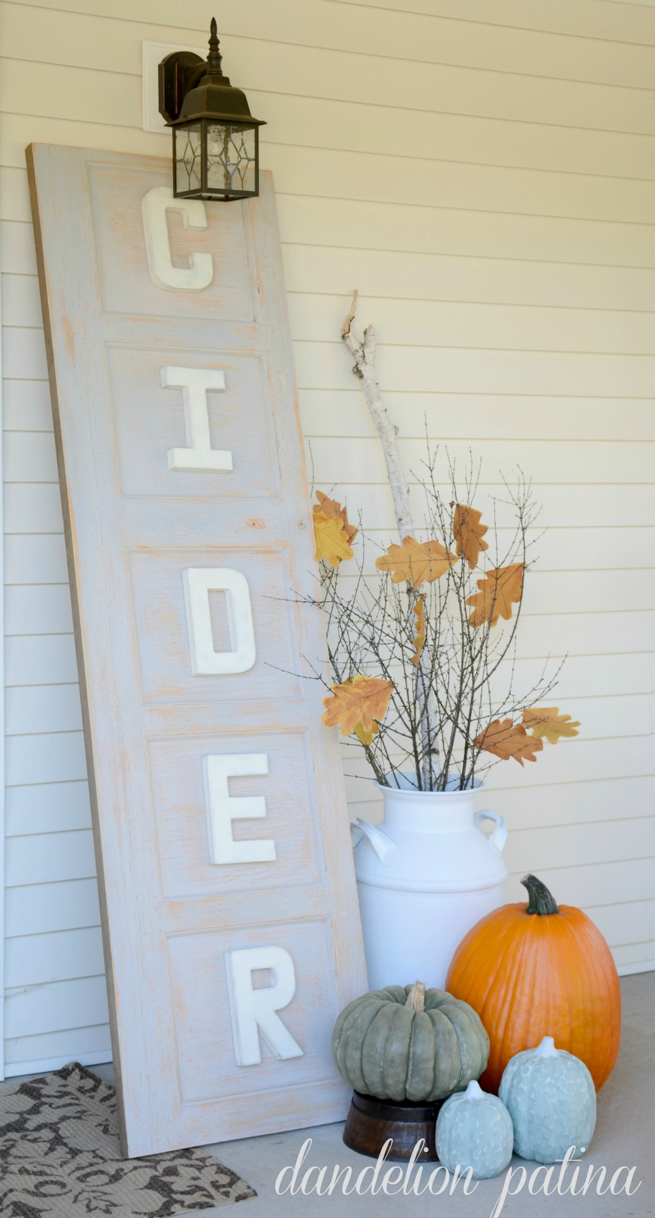 apple cider sign from re-purposed garage door