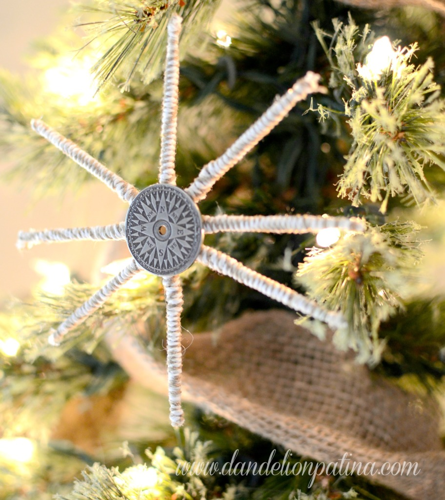 Compass Star Snowflake Ornament