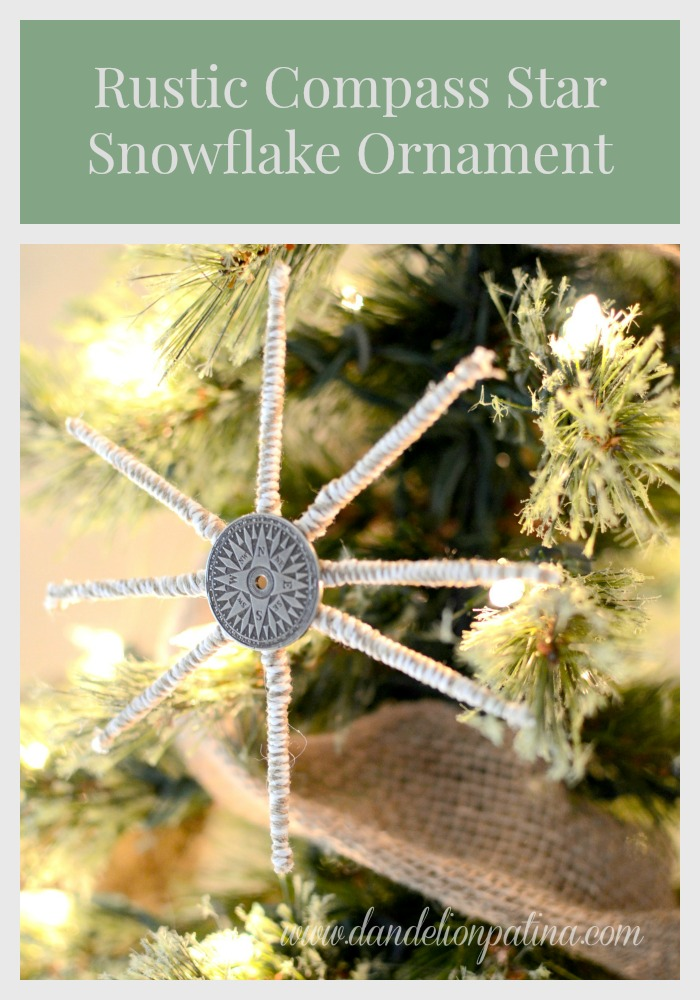 rustic compass star Christmas ornament