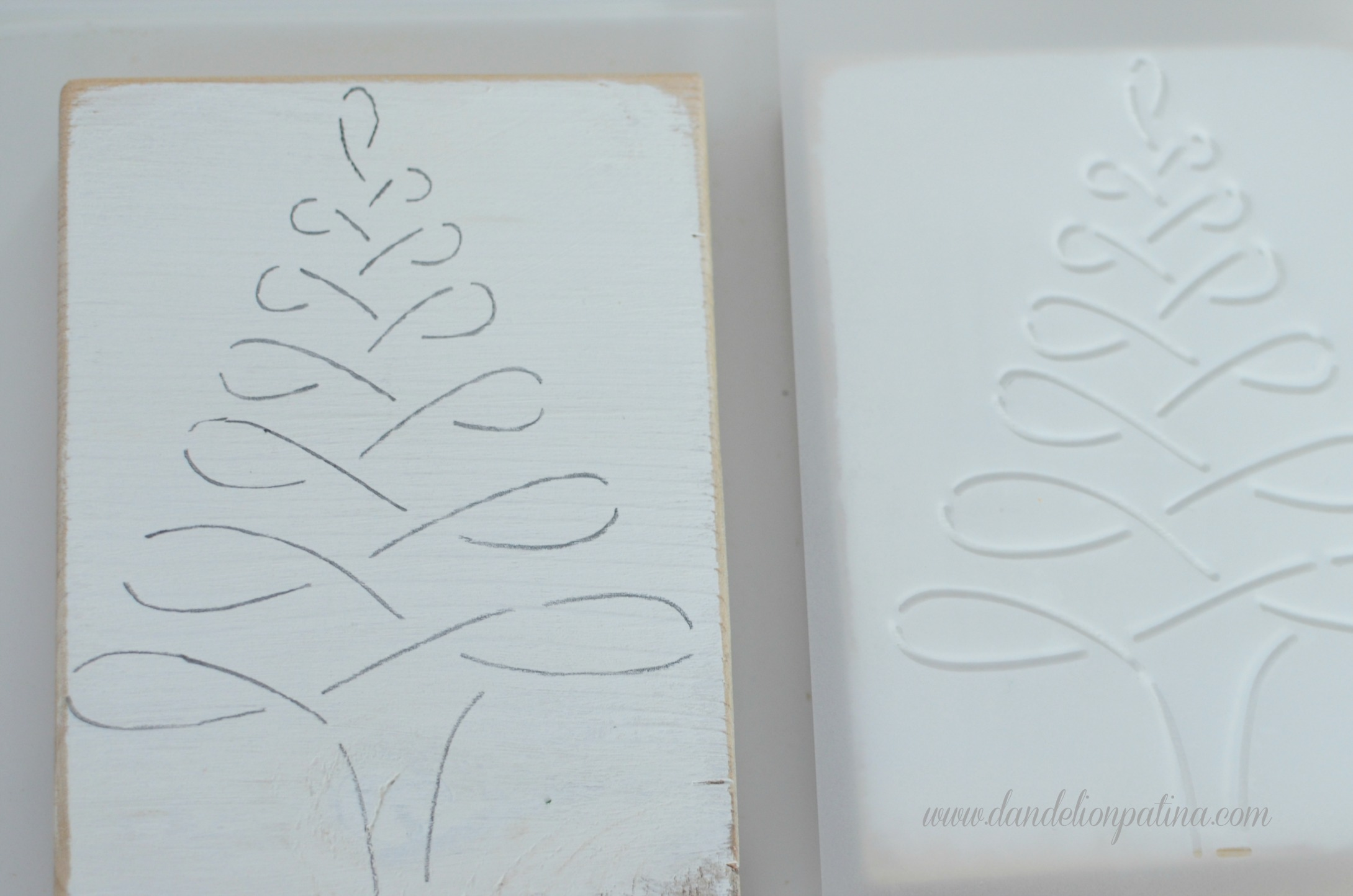 ribbon tree blocks with glass glitter