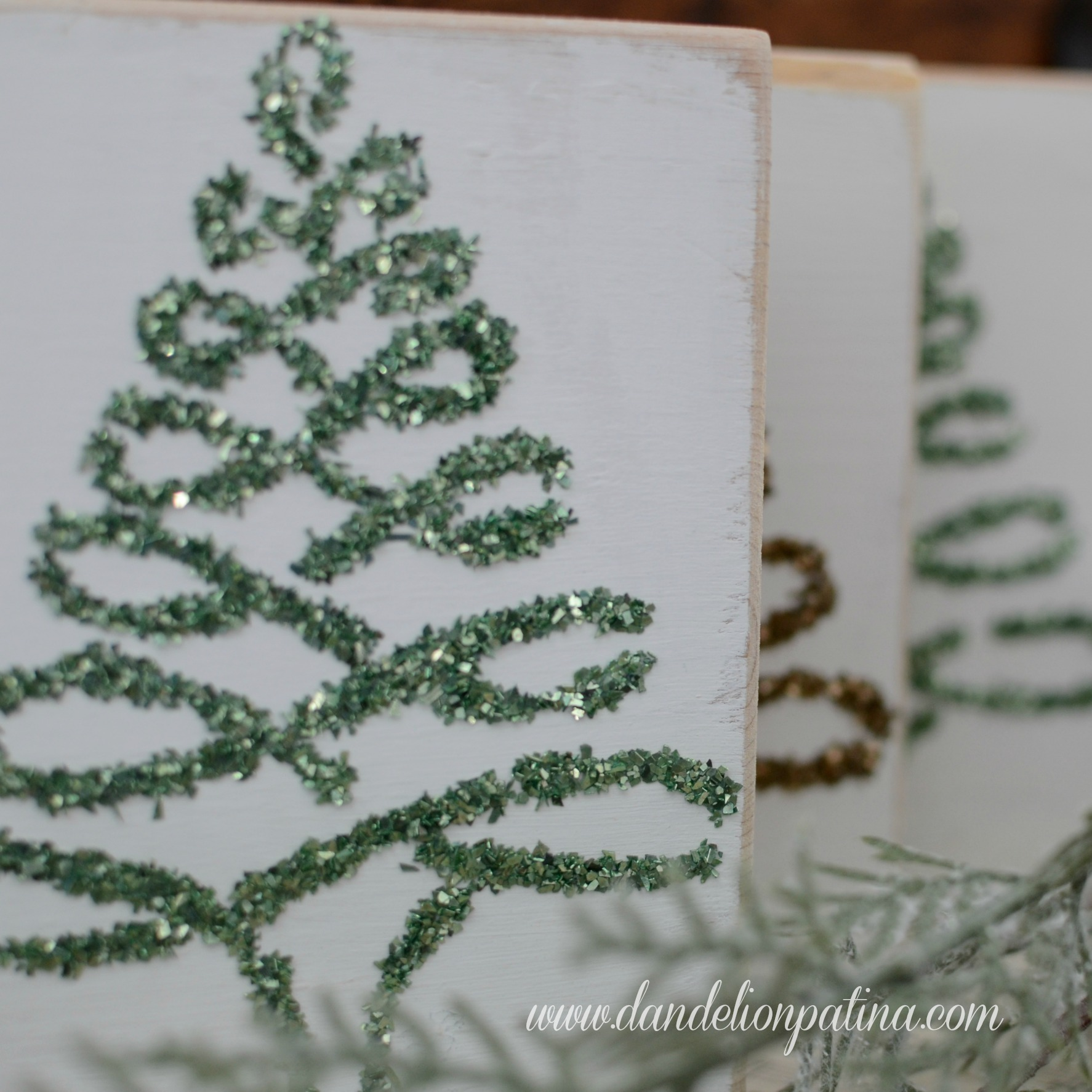 glass glitter trees DIY project