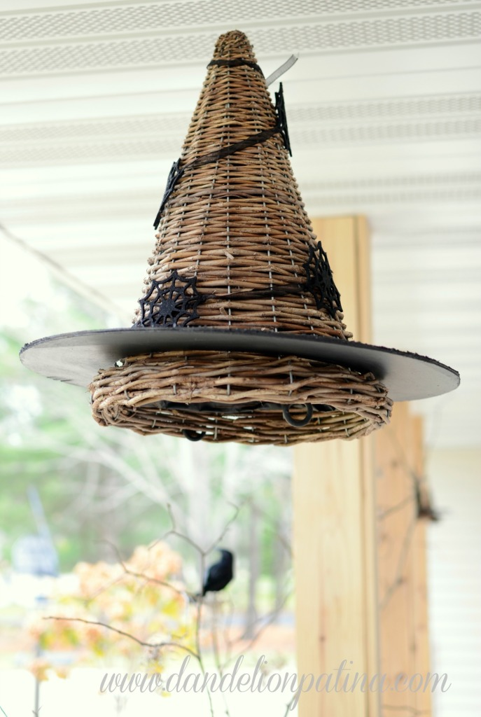 hanging black witch hat
