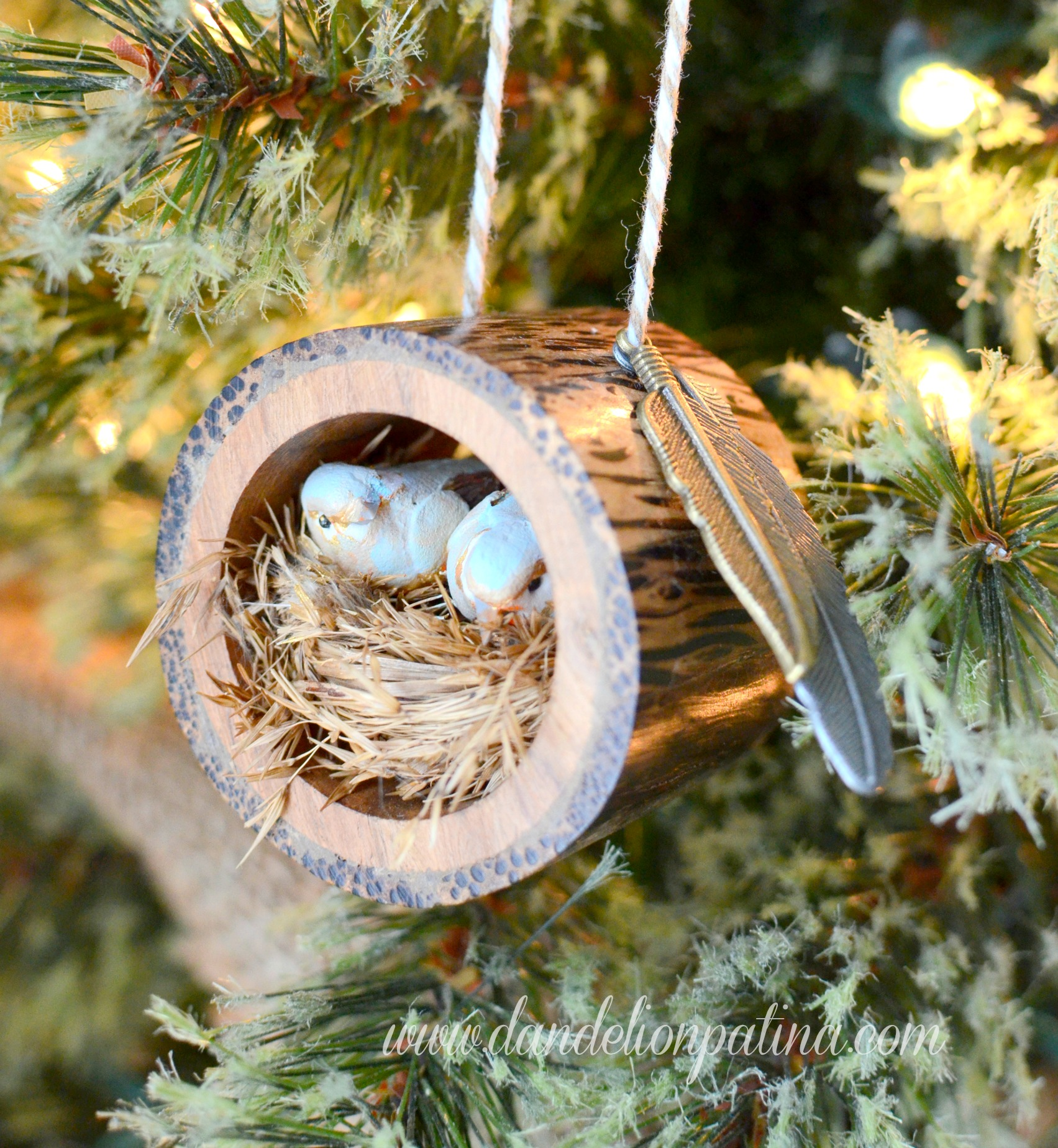 Partridge In A Pear Tree Ornament Rustic Log Bird Nest O...