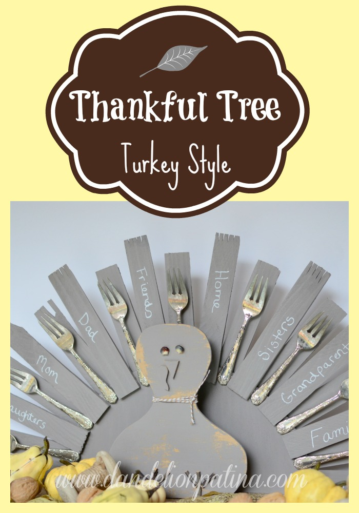 thankful tree turkey style dandelion patina