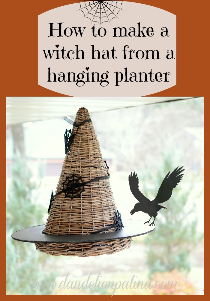 witch hat from a hanging planter