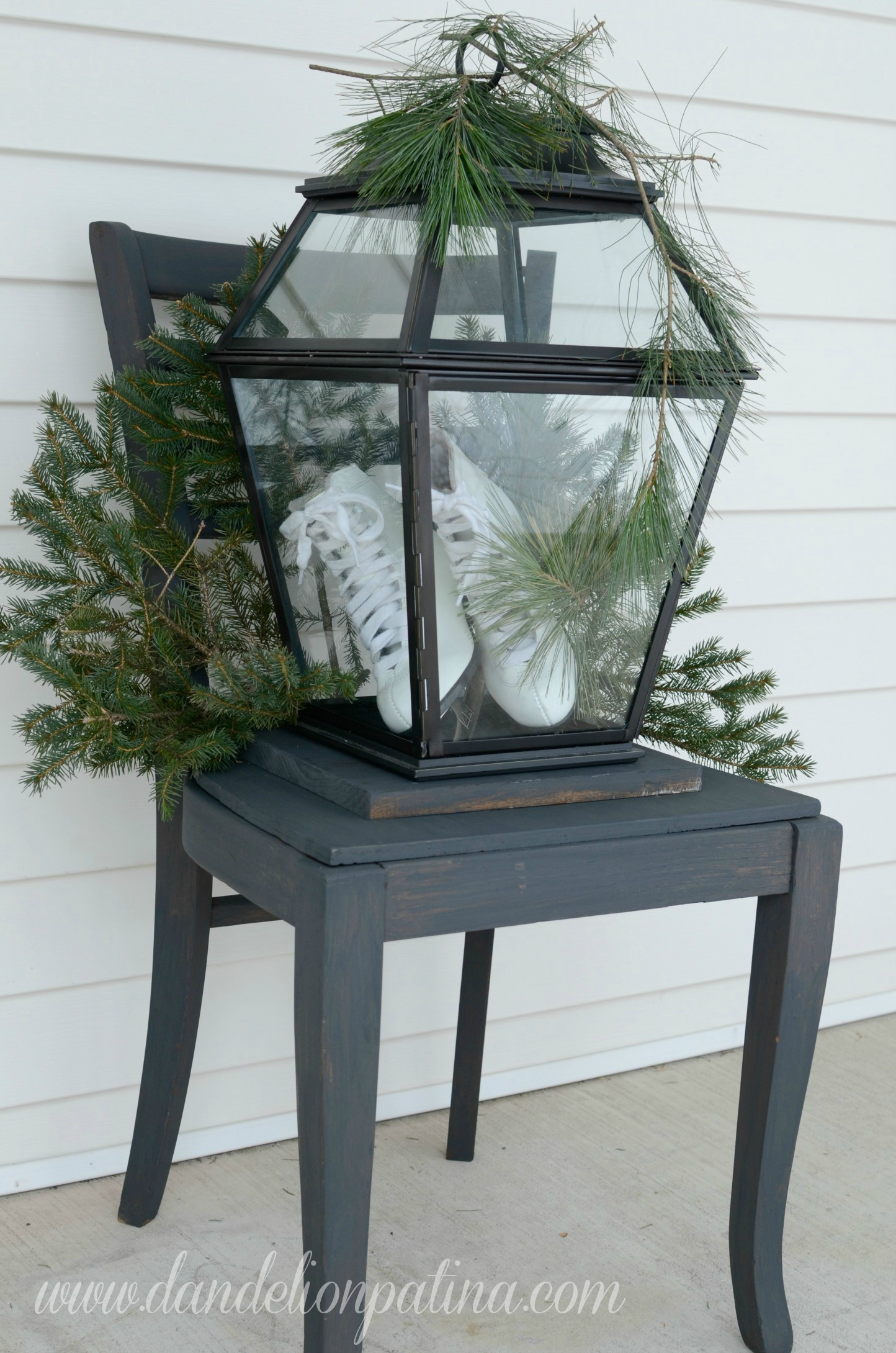black chair with lantern