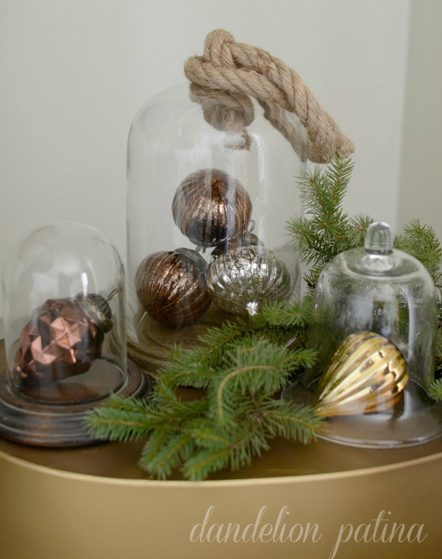 vintage ornaments in cloche