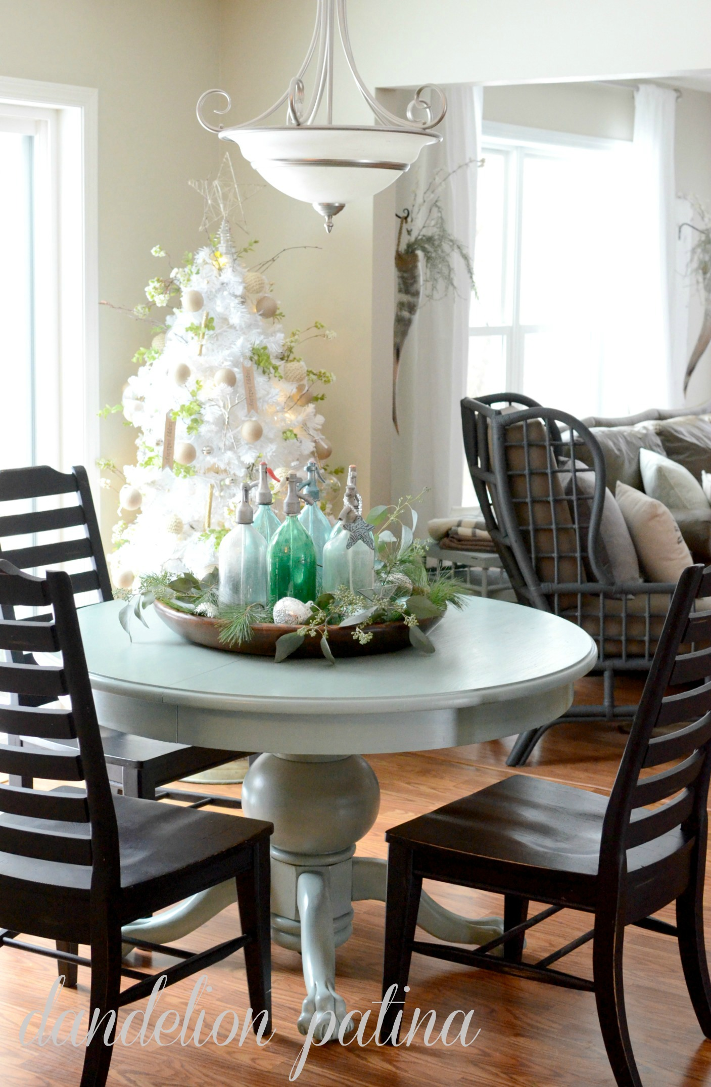 dinette area with white tree