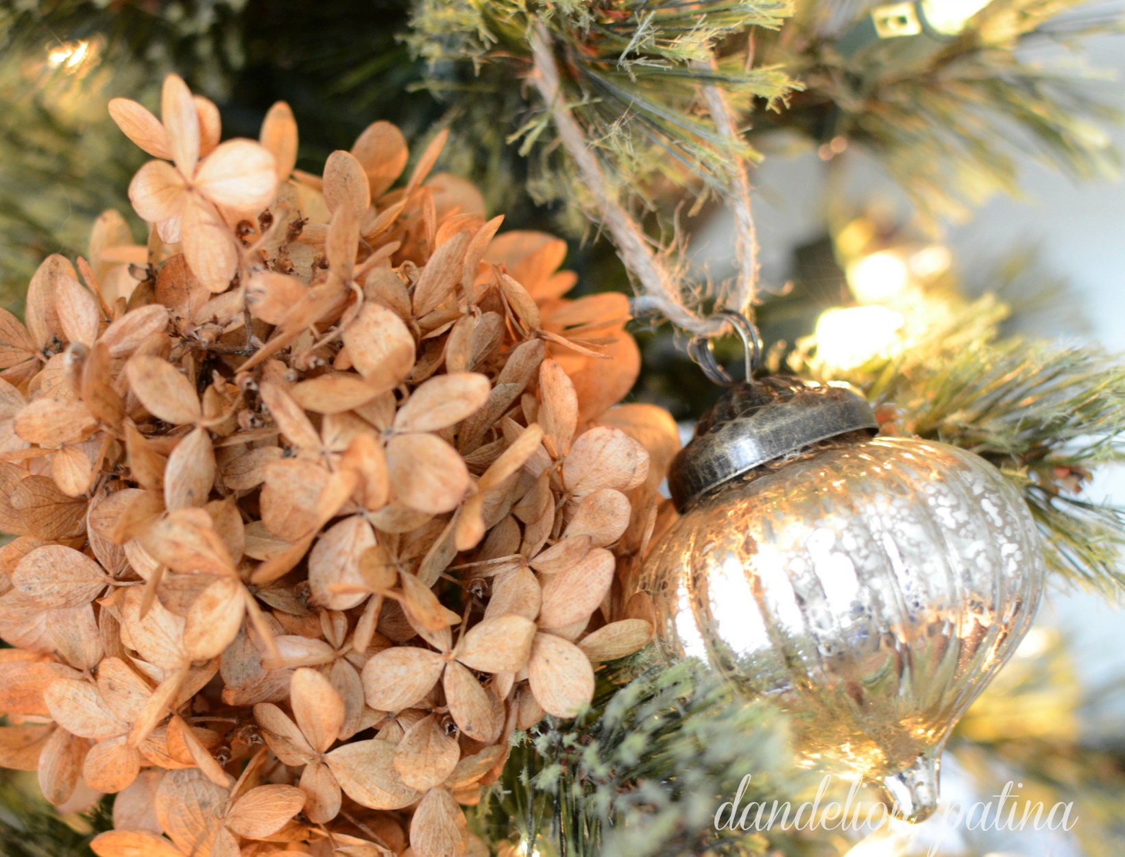 vintage ornament and hydrangea