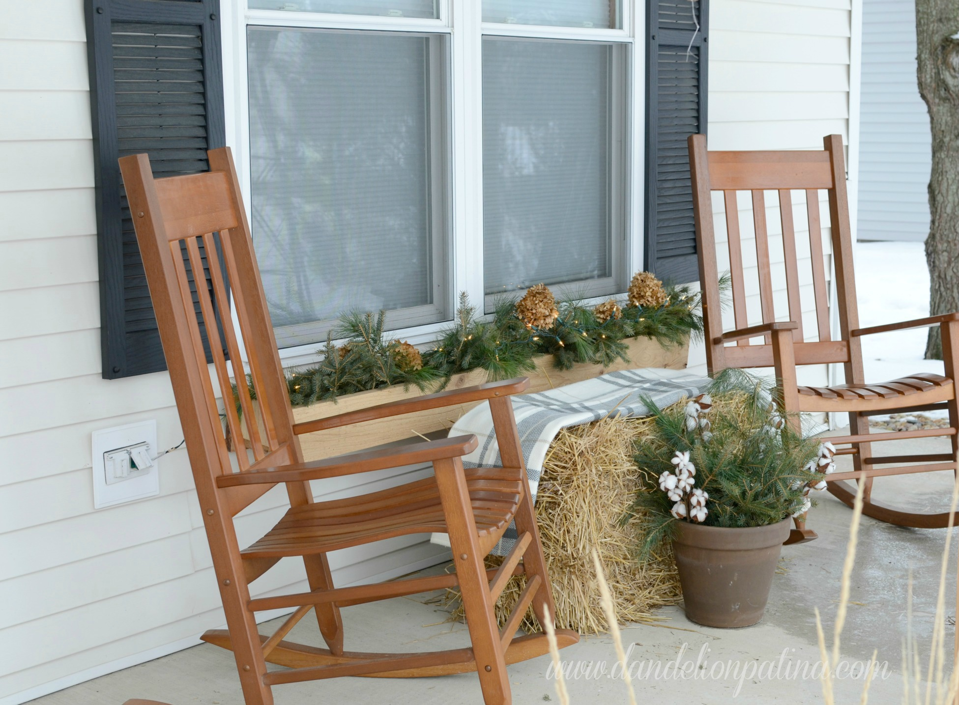 front porch winter theme decor