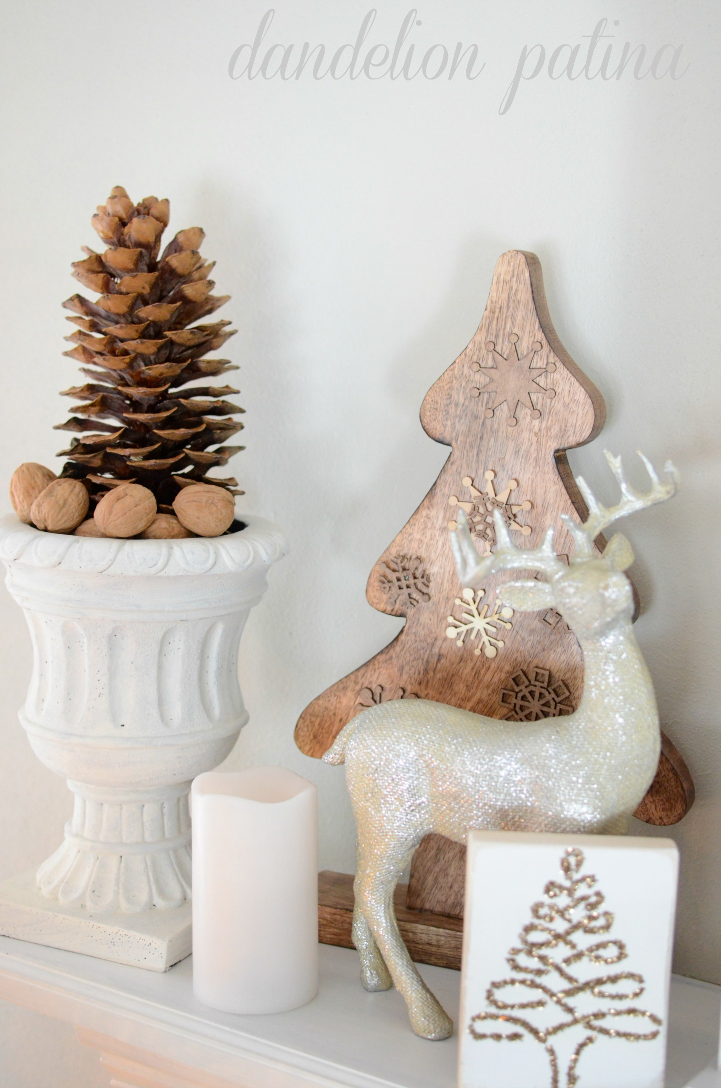 deer statue on mantel