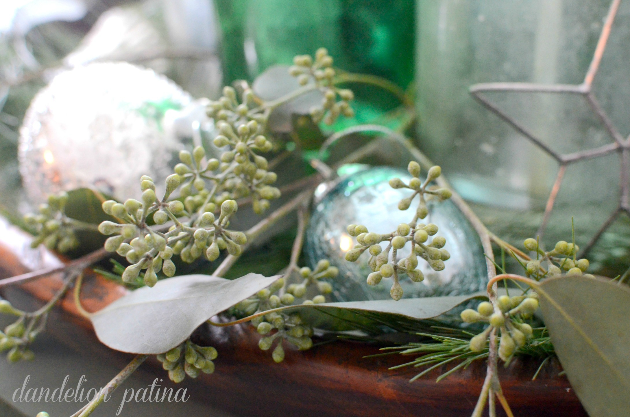 eucalyptus greens centerpiece