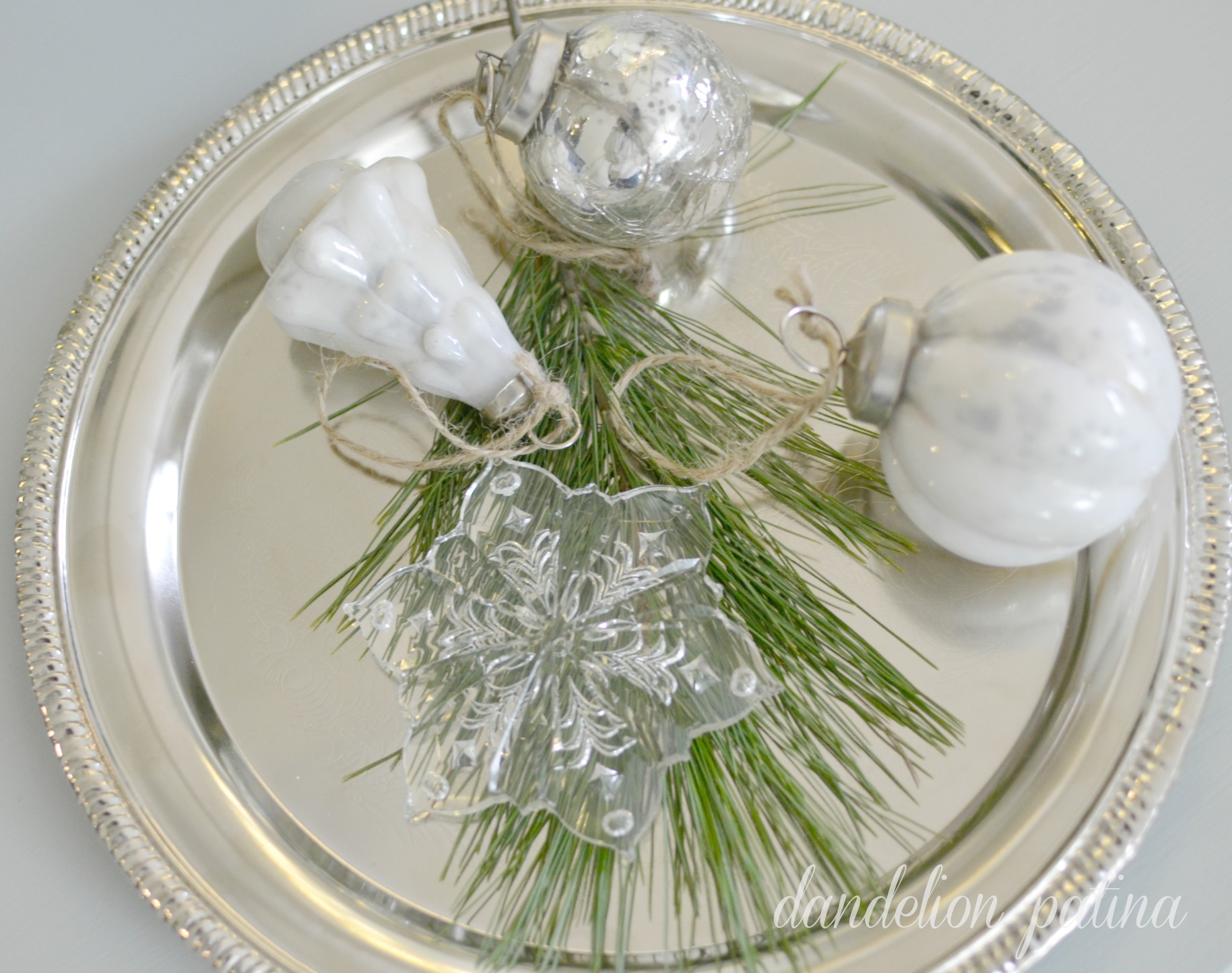 silver tray with ornaments
