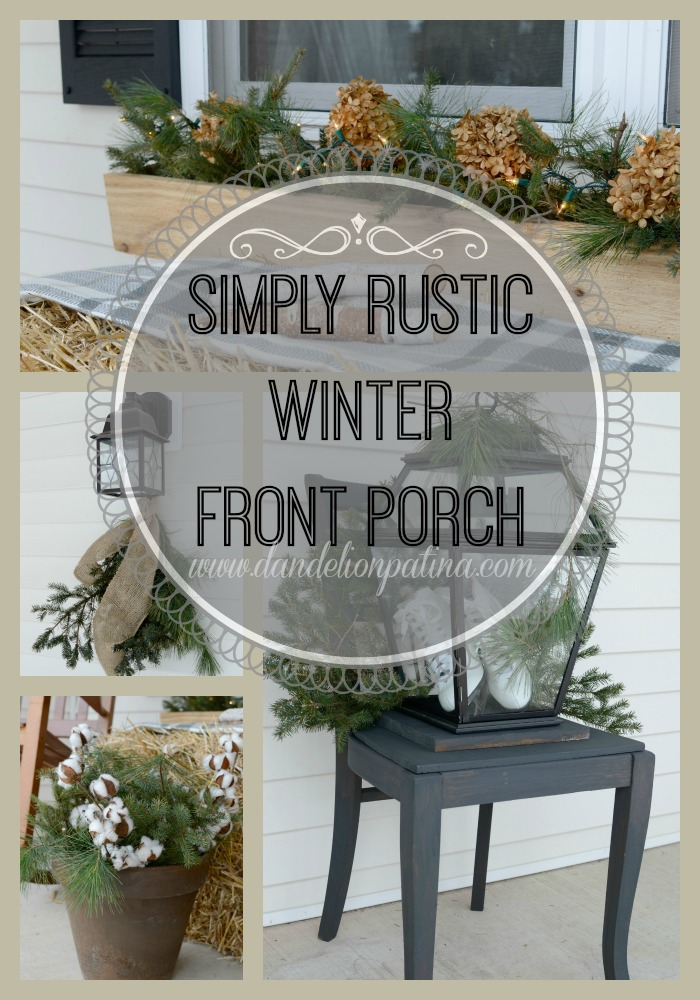 simply rustic winter front porch