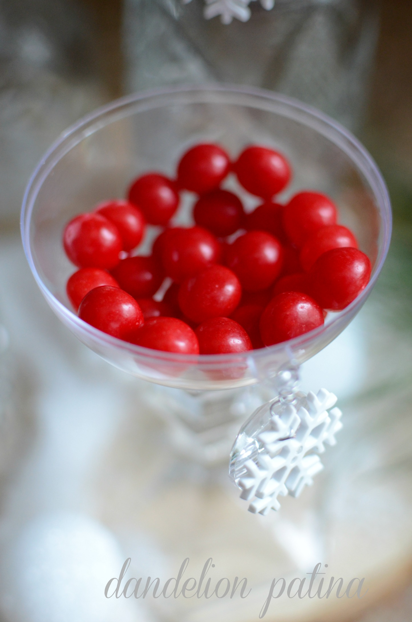 cherry sours in clear ornament