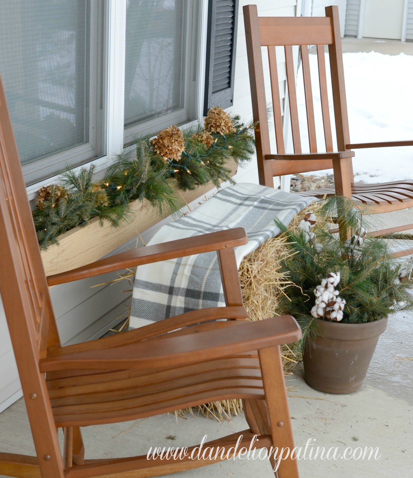 rustic winter front porch