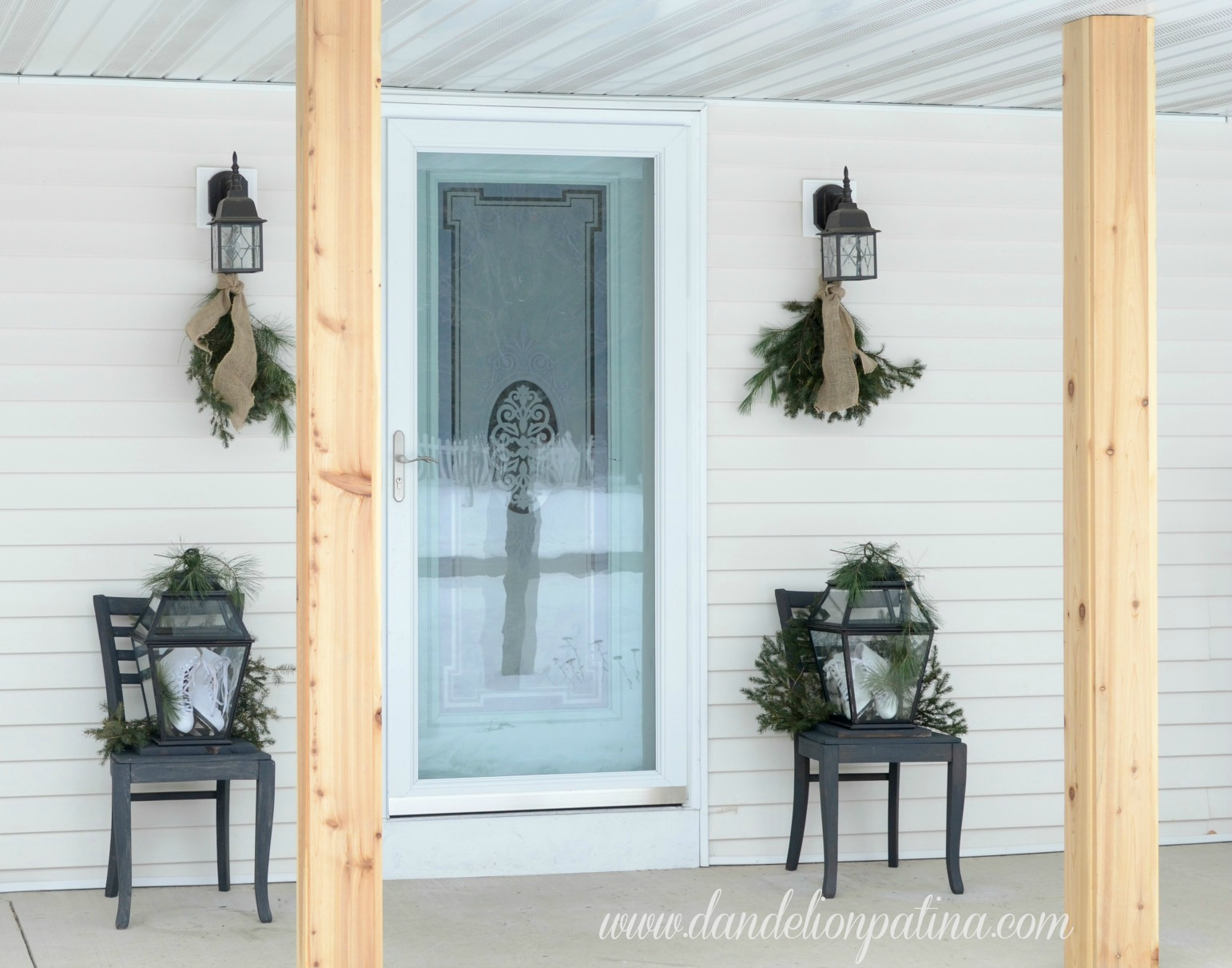 front porch with aqua door
