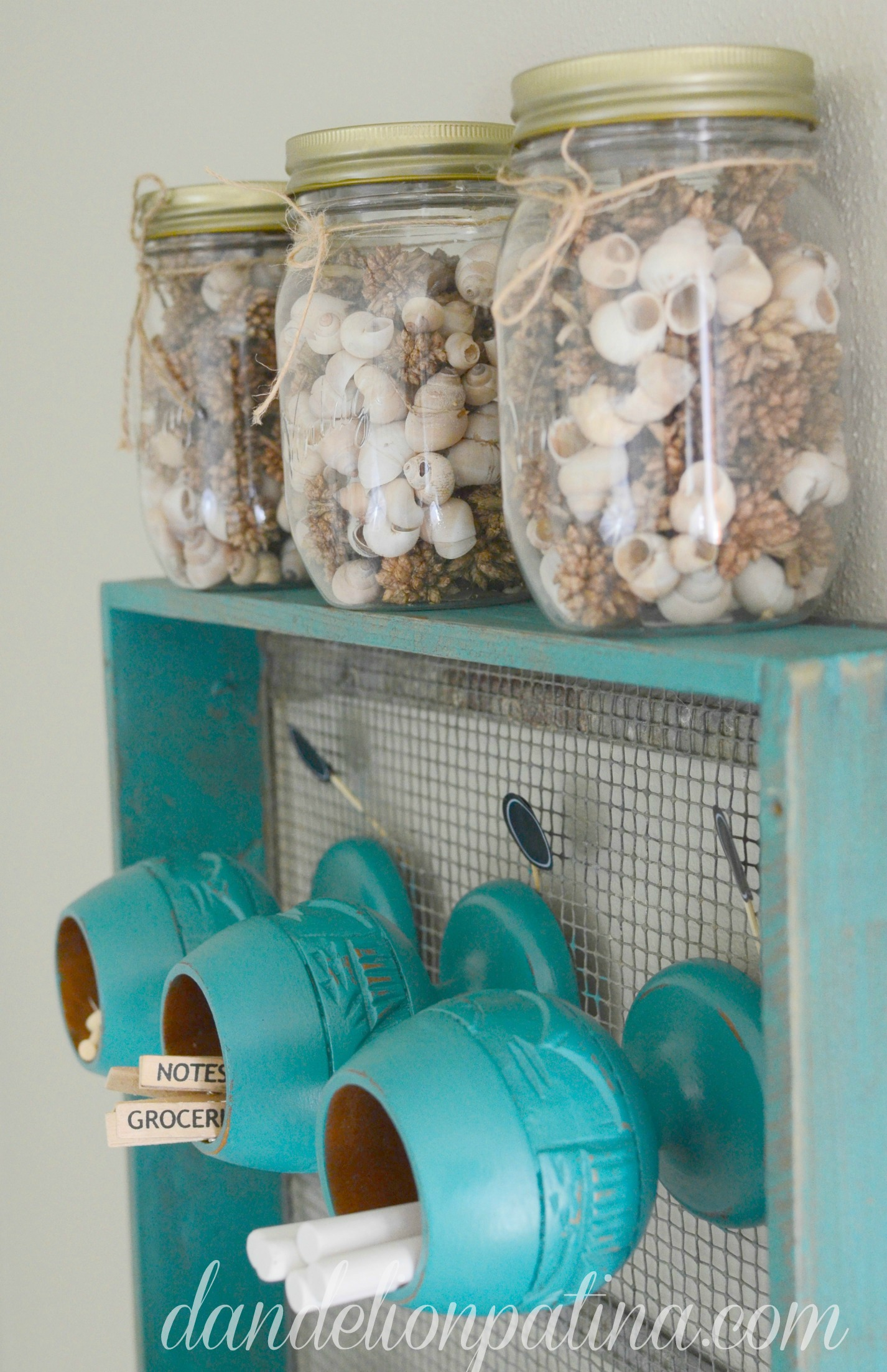 home office organizer in aqua