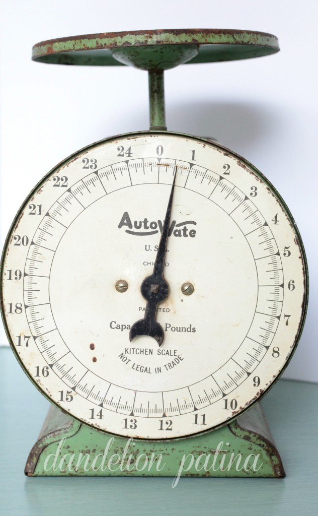 vintage kitchen scale with patina