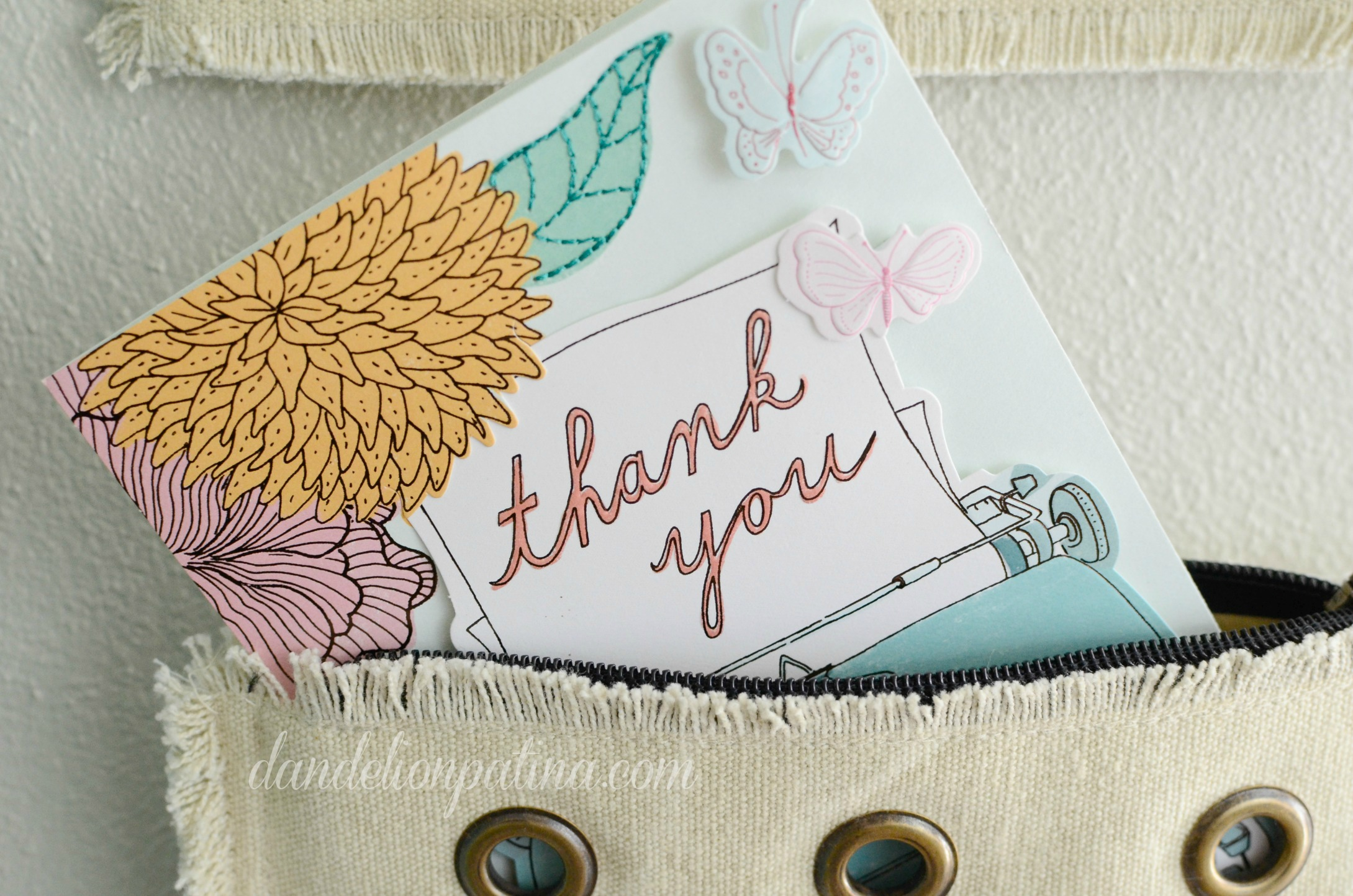 thank you note inside purse organizer