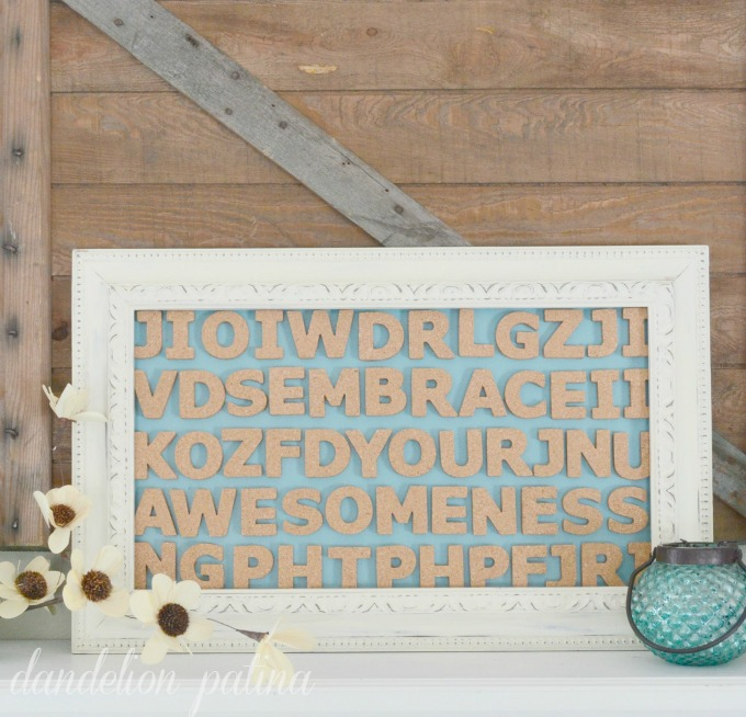 hidden word wall art with cork. cork letters create a DIY framed ... & framed wall art with hidden words and cork letters - Dandelion Patina