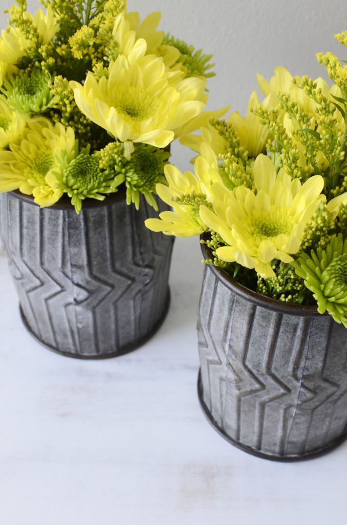 industrial style flower metal vases