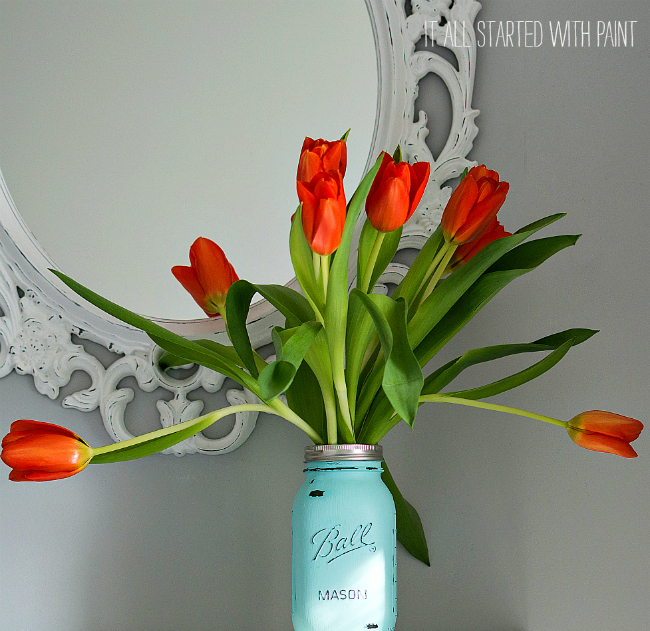 aqua mason jar vase with tulips