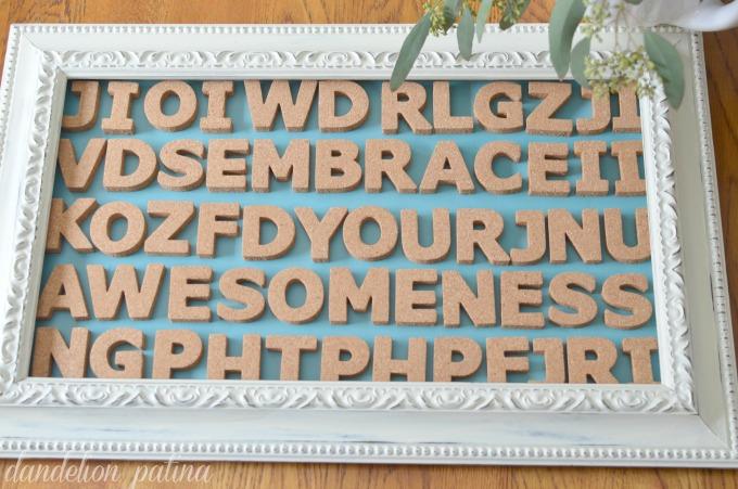 cork letter typography art