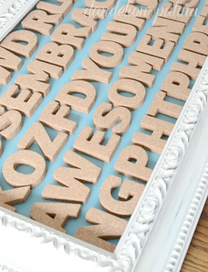 cork letter typography