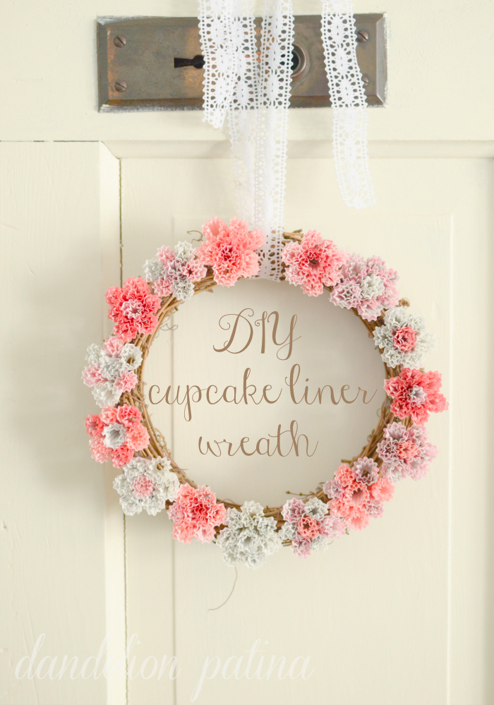 wreath with pink gray cream cupcake liners