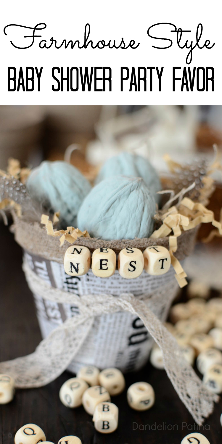 farmhouse style nest basket party favor