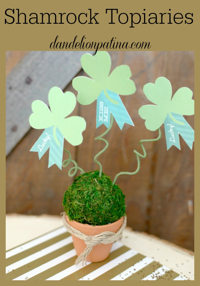 St. Patrick's Day shamrock topiaries