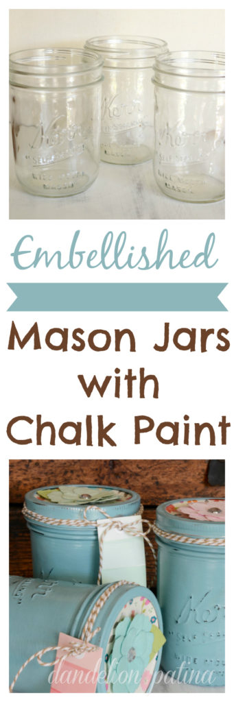 embellished mason jars with chalk paint