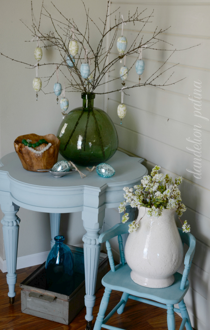 decoupage napkin egg tree DIY