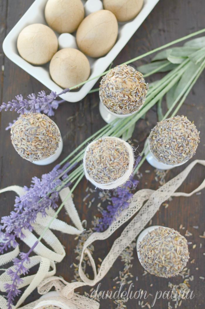 dried lavender eggs dandelion patina