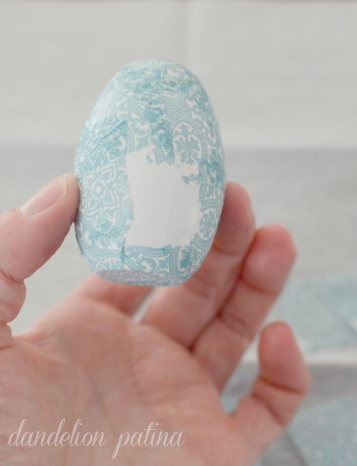 decoupage paper napkin eggs