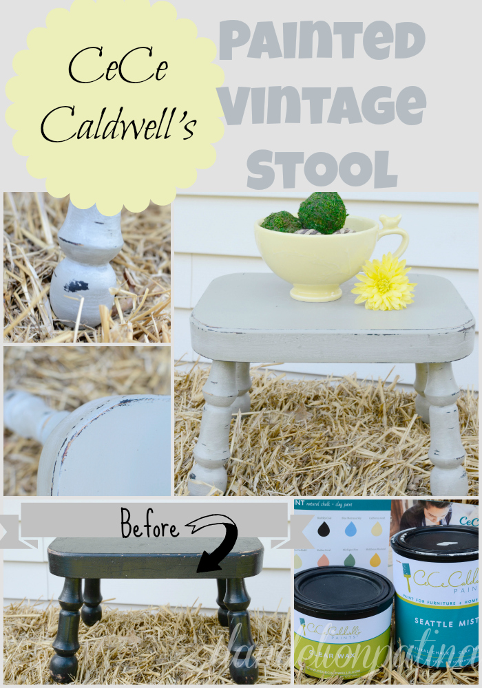 Transform any vintage furniture piece into a modern style for your home with CeCe Caldwell natural chalk and clay paint. Young Kansas Wheat and Seattle Mist were used to paint this wooden stool