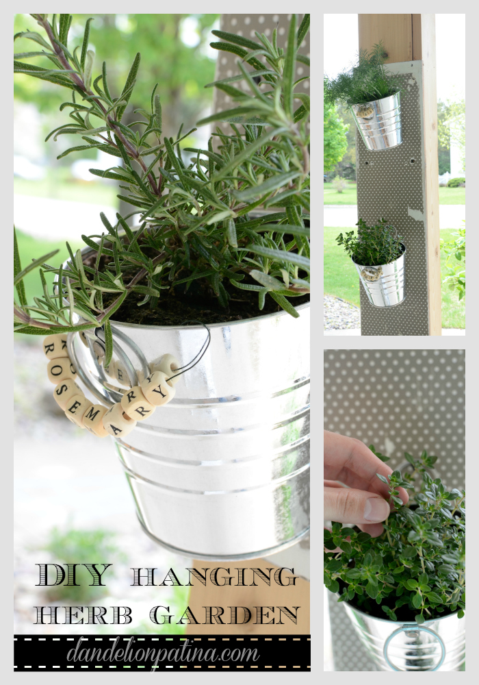 Create a DIY hanging herb garden inexpensively for under $10. All you need is a few pails, herbs, scrap wood, and tissue paper! Nothing beats fresh herbs at your fingertips!