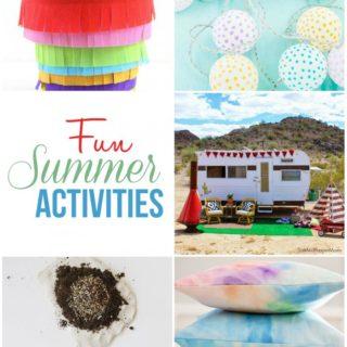 Fun summer activities: paper crafting, camping, watercolor pillows, gardening